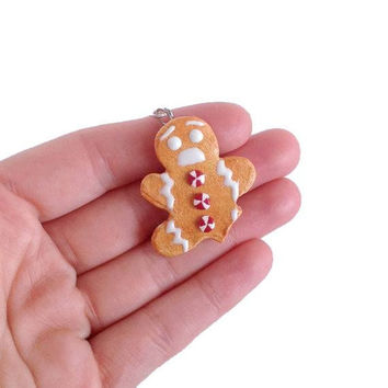 Gingerbread Man Cookie Necklace