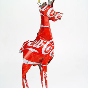 Recycled Coca Cola Can Animal Ornament - Giraffe