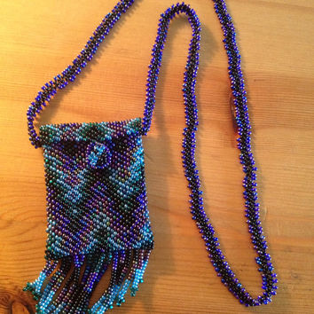 Gorgeous Blue Hand Beaded Tassle Medicine Bag, Crystal Pouch, 420 Festival Bag, Native American Necklace