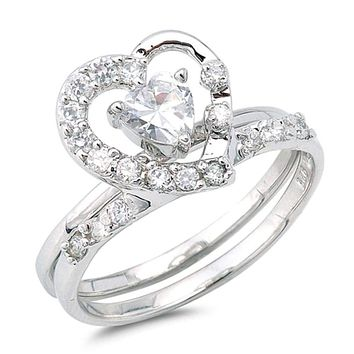 Big Open Heart Halo Cubic Zirconia Engagement Ring in Sterling Silver with Matching Band