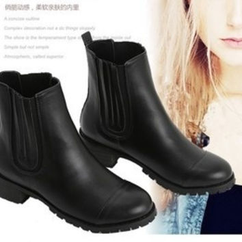 British fashion new winter boots flat low-heeled boots Martin boots women = 1747135492