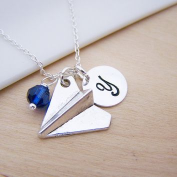 Paper Airplane Charm Swarovski Birthstone Initial Personalized Sterling Silver Necklace / Gift for Her