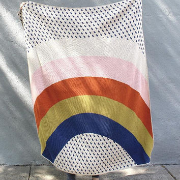 PRE-ORDER - Rainbow and Raindrops Knit Throw Blanket - Love Wins Pride Decor - Kids Bedroom - Colorful Living Room Blanket - Housewarming