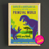 Disneyland Vintage Santa Fe Railroad Primevl World Attraction Poster Reprint Home Wall Decor Gift Linen Print - Buy 2 Get 1 FREE - 384s2g