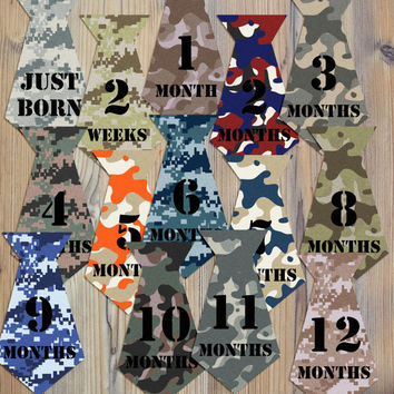 14 Camoflauge Camo Ties Hunter Hunting Military Baby Boy Newborn Monthly Milestone Stickers