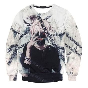 3D Tokyo Ghoul Cosplay Hoodies Ken Kaneki Fleece Tops Pullover New Casual Costume Sweatshirts