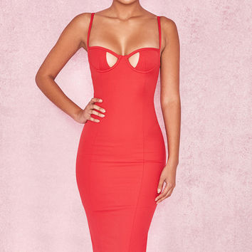 Clothing : Bodycon Dresses : 'Gianetta' Red Hourglass Dress