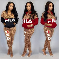 FILA New Popular Women Casual Round Collar Top Pants Set Two-Piece Red