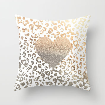 GOLD HEART LEO Throw Pillow by Monika Strigel