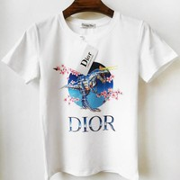 DIOR New fashion letter floral dinosaur print couple top t-shirt White