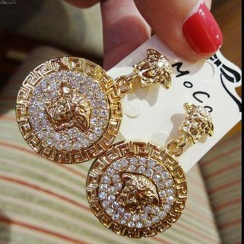 LMFON VERSACE Women Fashion Round Medusa Head Temperament Earrings Jewelry