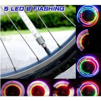 Pellor Waterproof Shockproof 5 LED 7 Mode Cycling Bike Motor Car Tire Spoke Valve Wheel Cap Alarm LED Neon Light Lamp