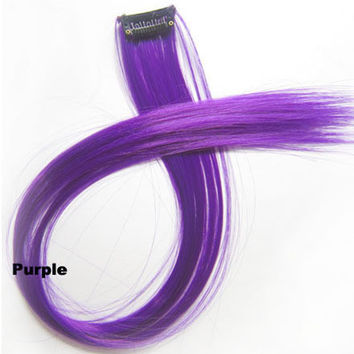 "1 pcs 22"" Straight Hair Price,Purple New Highlight Straight Ombre Colorful Candy Colored Colorful single Clip On In synthetic Hair Extension Hair piece"