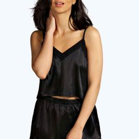 Millie Black Satin Crop Vest & Short Set | Boohoo
