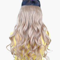 Light Gold Tousled Curly Heat-Resistant Fiber Long Hair Extension