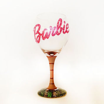 tropical barbie wine glass - rhinestones - palm tree base -  hand painted - 20 oz