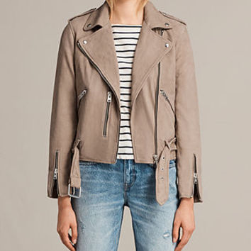 ALLSAINTS UK: Womens Balfern Leather Biker Jacket (MUSHROOM BROWN)