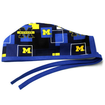 Men's Unlined Surgical Scrub Hat Cap in Michigan Wolverines New Block