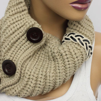 Scarf Knit Infinity Scarf, Womens Knit Winter Scarves, Womens Knit Infinity Scarf, Knit Scarves, Knit Infinity Scarves