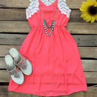 tank v-neck dress with crochet detail