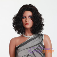 "17"" Short Curly with Bangs Synthetic Wigs for Women Basic Cap Dark Brown"