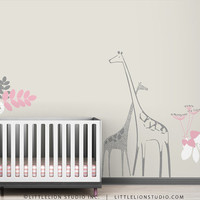 Giraffe Wall Decal Backyard Nursery by LeoLittleLion on Etsy