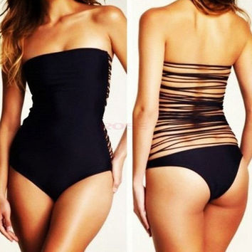 2014 Newest Women Sexy summer Black One Piece Monokini Straps Back Tassels Bathing Suit Swimwear SV002210 Swimsuit