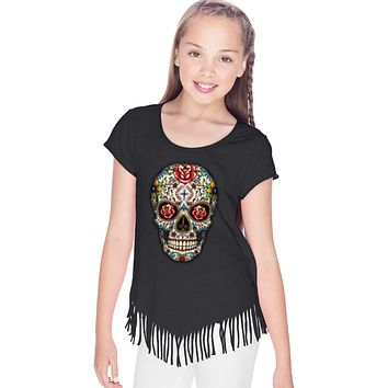 Girls Halloween T-shirt Sugar Skull with Roses Fringe Tee