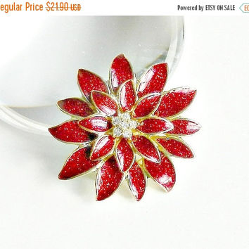 SALE Vintage Holiday Brooch. Red Poinsettia Flower Brooch. Christmas Brooch. Holiday Pin. Red Glitter Enamel. Rhinestones.