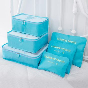 6PCs/lot Travel Storage Bag Set For Clothes Tidy Organizer Laundry Pouch Suitcase For Clothes Home Closet Container Organizer