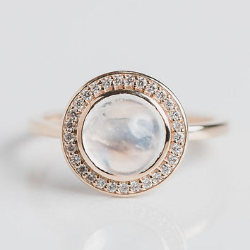 14k Moonstone Halo Ring | Diamond Unique Stackable One of a Kind | Pretty Girly Alternative Engagement Ring Boho Glam Yellow Gold Ring