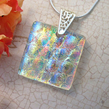 Sparkly Bubbles Dichroic Glass Pendant - Orange, Red, Yellow, Green, Blue Fused Necklace Party Perfect - 47-15