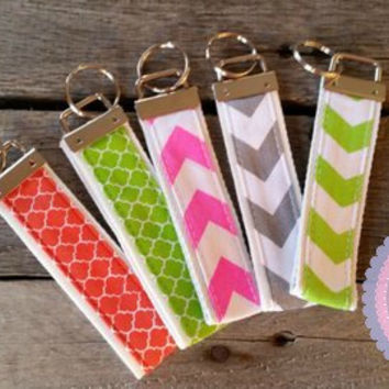 Monogrammed Key Fob Chevron or Quarterfoil pattern