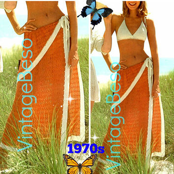 INSTANT DOWNlOAD - PdF Pattern - Sexy Sarong Vintage CROCHET Pattern Retro 1970s Ladies Wrap Skirt