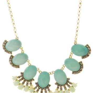 Blue Faceted Stone Statement Collar Necklace by Charlotte Russe
