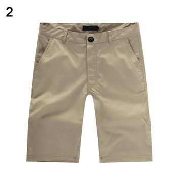 Men's Casual Summer Beach Solid Color Baggy Pocket Pants Trousers
