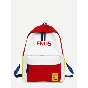 Pocket Front Letter Embroidered Backpack