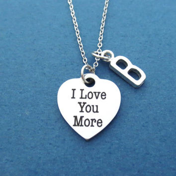 I Lover You More, Personalized, Letter, Initial, Capital letter,  Heart, Necklace, Love, Jewelry, Best friend, Friends, Lover, Gift, Jewelry