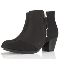 MIGHTY Black Leather Zip Boots - Boots - Shoes - Topshop USA