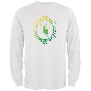 Deer Silhouette White Adult Long Sleeve T-Shirt