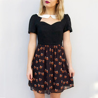 Second Hand Fox Print Black With White Collar Dress Size 10