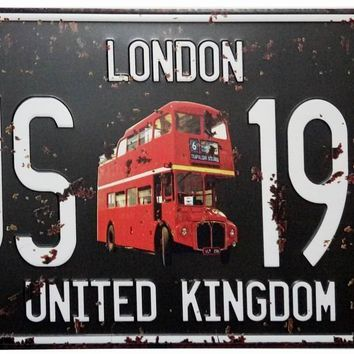 ERLOOD London Bus-1956 United Kingdom Retro Vintage Auto License Plate Tin Sign Embossed Tag Size Home Pub Bar Decor 6 X 12