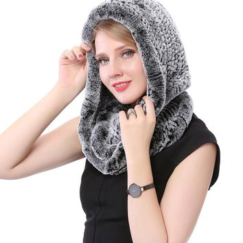Valpeak Hat Women 2017 Real Knitted Rex Rabbit Fur Hat Hooded Scarf Long Winter Warm Fur Hat With Neck Collar Scarves