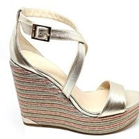 JIMMY CHOO Women's PORTIA120PLATINO Silver Leather Wedges