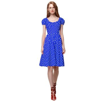 Polka Dot Summer Dress Short Sleeve Women Casual Party Vestidos Femininos 50s Pinup Swing Rockabilly Dresses