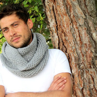 Knitted infinity Men Scarf. Block Infinity Scarf. Loop Scarf, Circle Scarf, Neck Warmer. Gray Scarf, Men  Scarves, Guy, Man, Men,