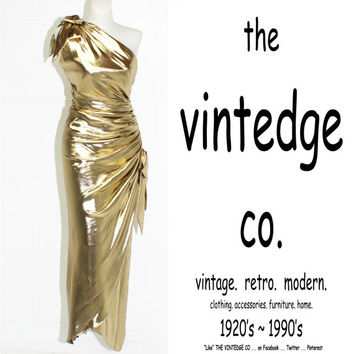 vintage // pin up olde hollywood goddess gold lamé grecian hourglass dress gown S M