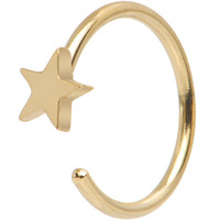 "20 Gauge 5/16"" Gold IP Stainless Steel Evening Star Nose Hoop 