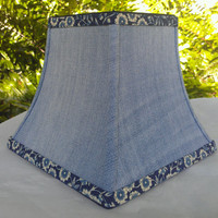 Denim Lampshade Indigo Floral Blue Jeans Chandelier Square Bell Frame Cotton Fabric Navy Blue Grosgrain Ribbon Handmade Trim Torpedo Clip