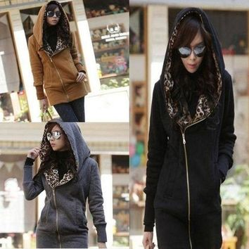 ONETOW Warm Leopard Lining Fleece Hooded Street wear  Fashion Women's Hoodies Coat